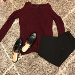 Women's Cranberry Open Shoulder Knitted Sweater